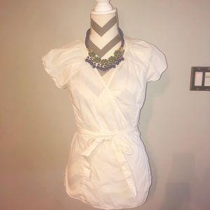 Banana Republic White Cotton Wrap Top Blouse 4
